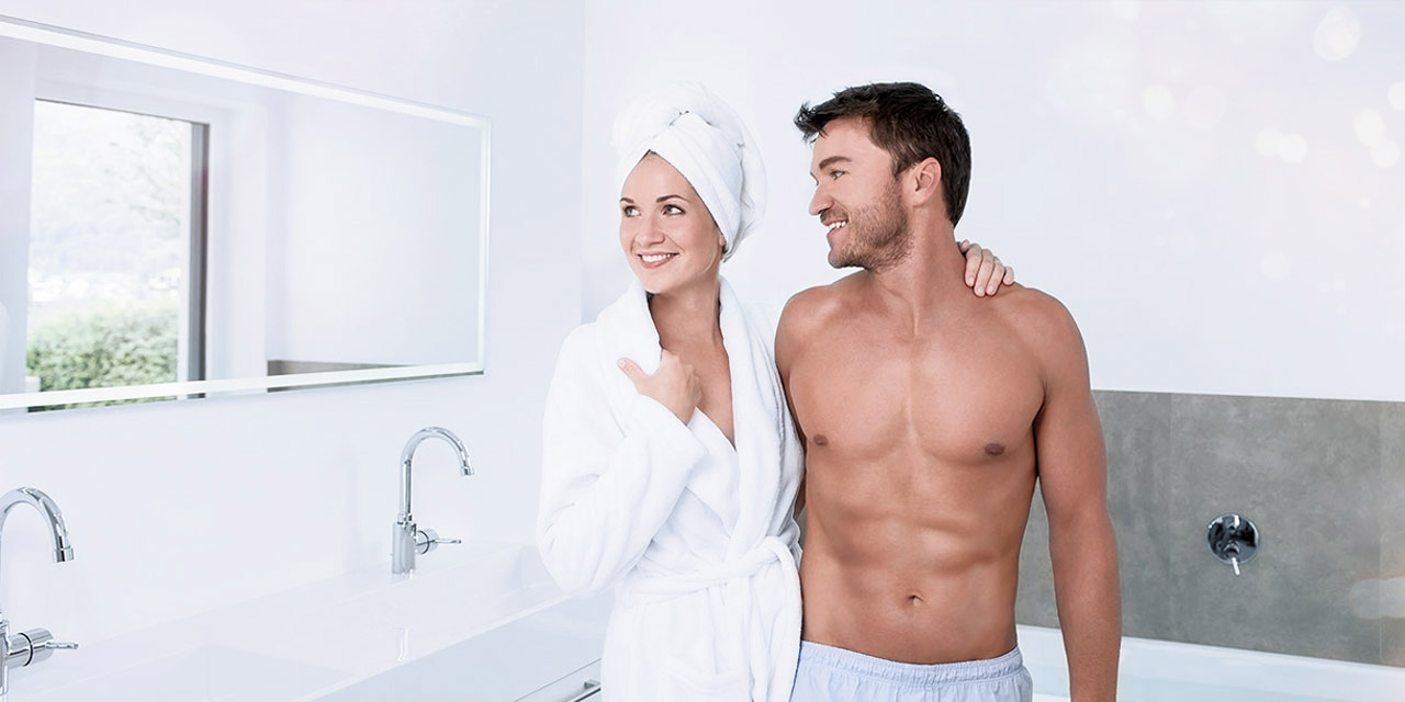 Couple in bathroom after shower