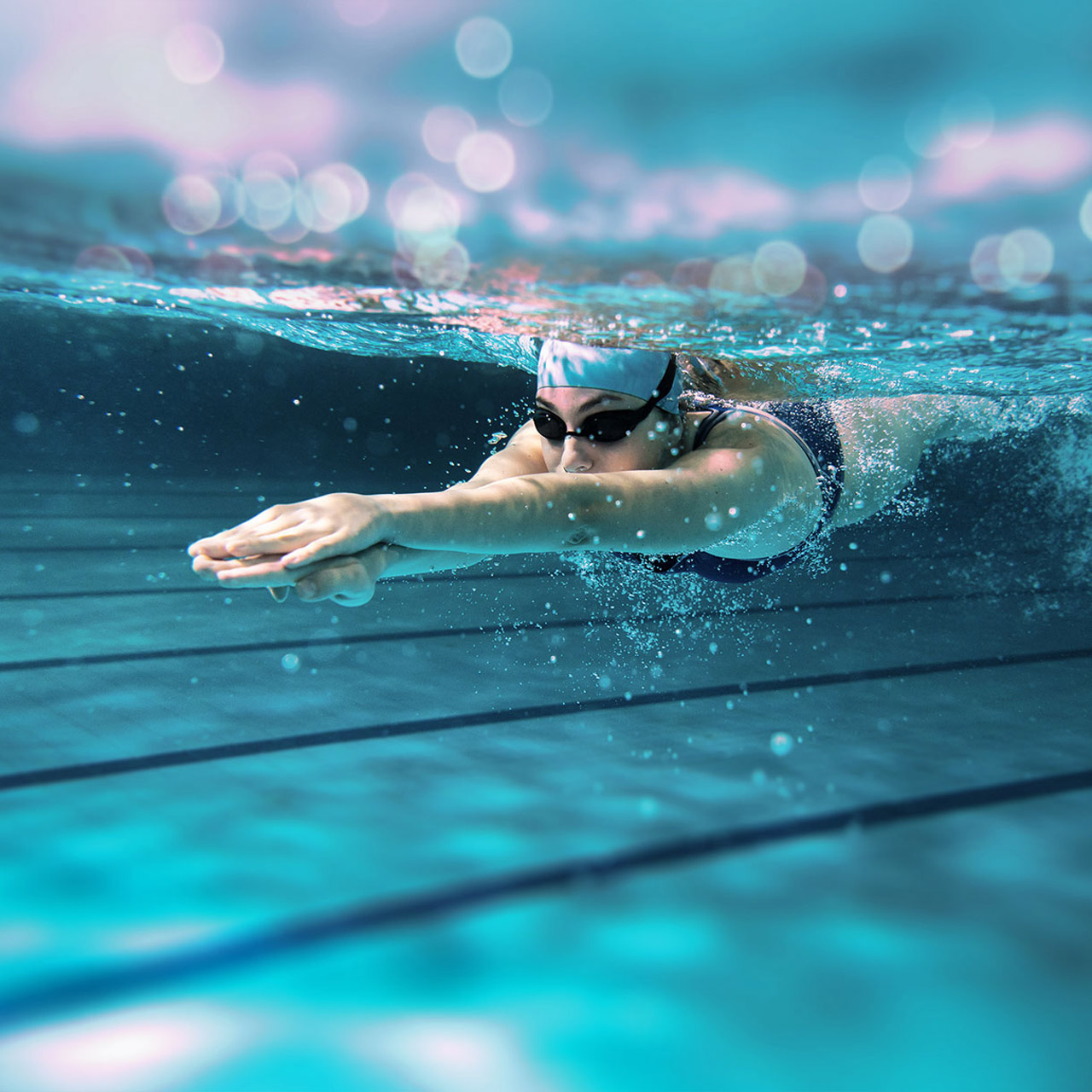 Underwatershot of swimmer in a pool