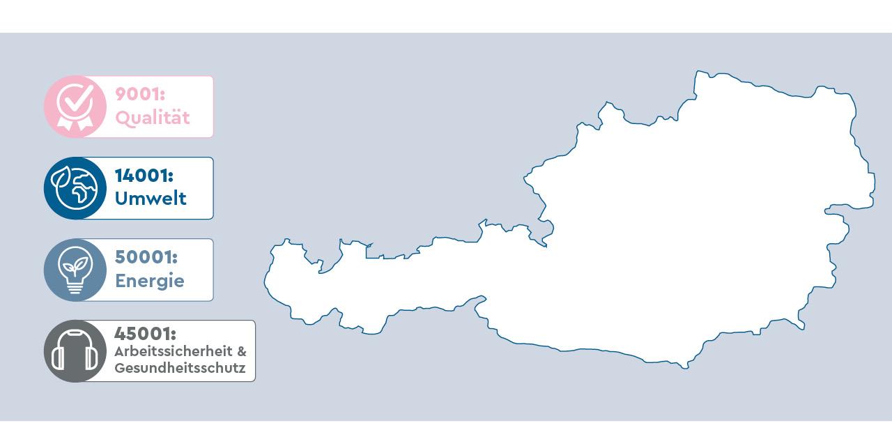 Karte Österreich ISO Zertifikate